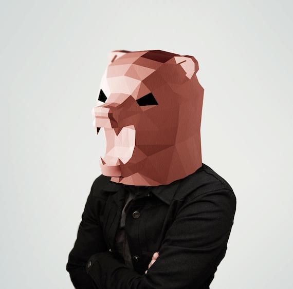 ... mask, 3d paper craft, Brown Bear, printable DIY template, PDF