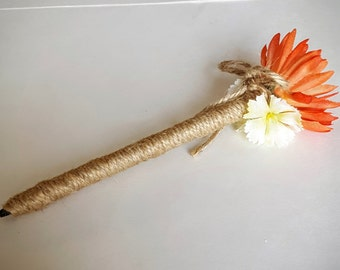 Burnt Orange Wedding Pen, Persimmon, Red-Orange - Rustic Jute-wrapped Wedding Guest Book Handmade Flower Pen, Ballpoint Pen, ITEM 129