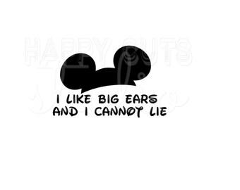 I Like Big Ears and I Cannot Mickey Ears Hat Matching Family Couple Husband Wife Boy Girl Grandpa Grandma  Disney Iron On Decal 301