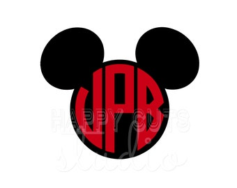 Personalized Monogram Initials Circle Mickey Mouse Matching Family Dad Son Father Disney Cheer Team  Iron On Decal Vinyl for Shirt 045