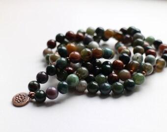 Indian Agate Wrist Mala for Self-Confidence, Abundance, New Beginnings and Negativity / 108 Beads