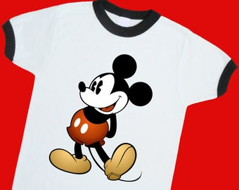 Vintage Mickey Mouse Ringer Tee. Vintage Mickey Mouse T Shirt. Vintage Mickey Mouse Jersey. Vintage Disney Shirt. Vintage Mickey Shirt 25014