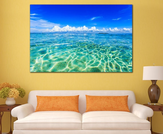 Blue Print Wall Decor : Beach giclee print printable wall decor for home blue sea