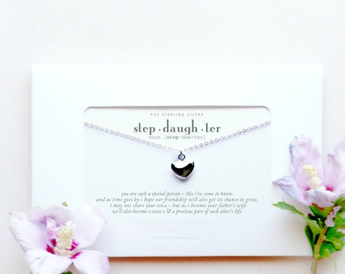 Stepdaughter | From Stepmother to New Future Step Daughter | Sterling Silver Necklace Poem Message Card Wedding Engagement Bridesmaid Gift