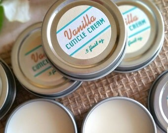 Vanilla Cuticle Cream / Cuticle Oil / Nail Care / Cuticle Balm / Hand Salve / - .5 oz. with reusable tin