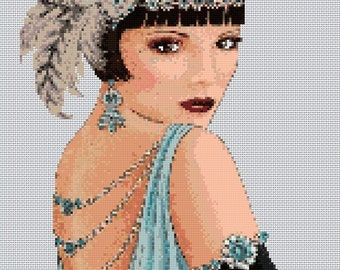 Art Deco Lady Portrait #1 Cross Stitch Chart