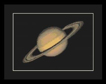 Saturn Cross Stitch Pattern PDF - Planet Solar System