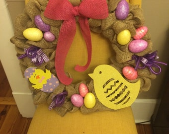Easter chic burlap wreath- made to order