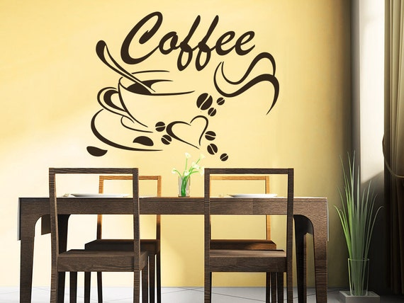 coffee beans wall decals coffee cup decal cafe drinks kitchen. Black Bedroom Furniture Sets. Home Design Ideas