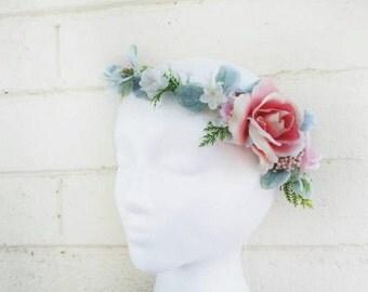 Peachy Rose Floral Crown