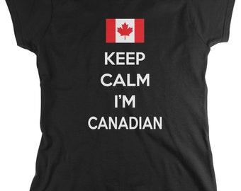 Keep Calm I'm Canadian Ladie's T-Shirt, Canada Flag, Canadian Pride, Maple Leaf, Women's Canada Shirts AMD_1183
