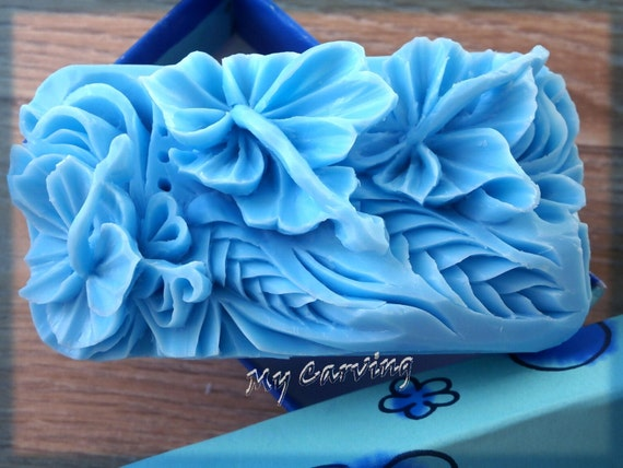 Carving soap three hibiscus flowers blue carved by abcarving