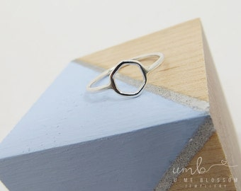 Small Silver Hexagon Ring | Geometric Ring | Stacking Ring *MADE TO ORDER*