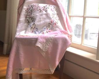 Linen Throw, Floral Heart Wall Hanging,  Pink Linen Vintage Cloth, Cotton Crochet Lace, Embroidered Floral Heart, Cottage Chic,  Customize