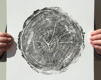 "Original Handmade Tree Print ""Gary, 42 Years"" in Black (11""x14"" unframed)"