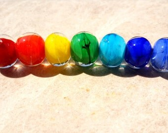 Rainbow Lampwork Beads, Rainbow Beads, Yoga Color Beads, Handmade Lampwork Beads, Rainbow Glass Beads
