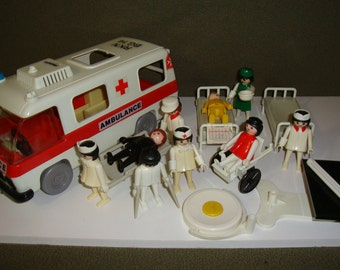 1977 Playmobil Ambulance with Figures and Accessories 3254 Geobra Vintage Toy Emergency Vehicle