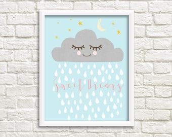 Sleepy raincloud baby print, sweet dreams nursery print, sweet dreams nursery art, baby room, kids room Print, raincloud nursery art