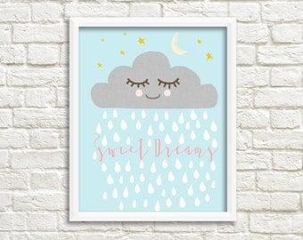 Sleepy raincloud baby print, sweet dreams nursery print, sweet dreams nursery art, baby room, kids room Print, raincloud nursery art