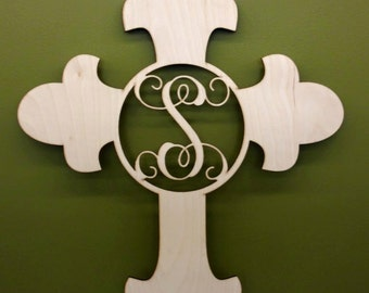 Laser Cut Unpainted Cross with Letter- Can customize to  any letter
