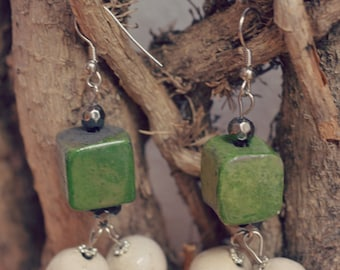 raku earrings green white earrings