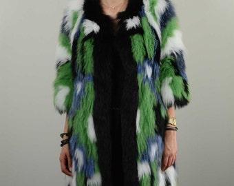Real fox fur jacket multi color
