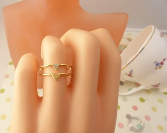 Rings,Chevron ring,triangle ring,wedding jewelry,gift idea,mothers day gift,birthday present