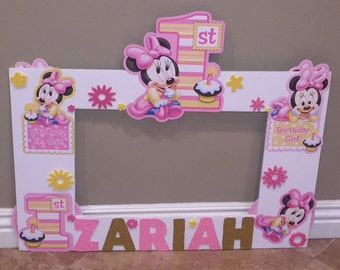 Minnie mouse photo frame, Pink minnie mouse 1st birthday, party decoration