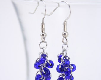 Cobalt Blue Dangle Chainmaille Earrings