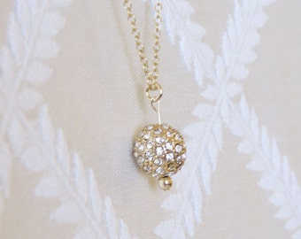 Gold Filled Necklace with Studded Gold Ball Charm, GN-121