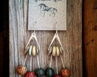 Bohemian Sterling Silver Drop Earrings with Wooden Beads Boho Earrings Bohemian Jewelry Sterling Silver Hooks Colorful Boho Rustic Earrings
