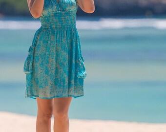 Halter Dress, Beach Dress, Sundress, Summer Dress, Womens Sundress, Teal Sundress, 105-111