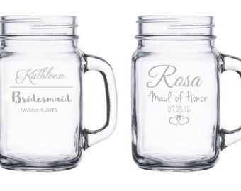 One (1) Single Etched Mason Jar w/ Handle Bridesmaid, Maid of Honor, Bridal Party, Weddings, Gifts