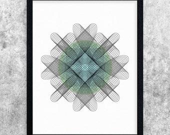 Instant Download Printable Art, Geometric Art Print, Blue & Green, Digital Print, Wall Art Printable, Office Decor, Abstract Art, Modern Art