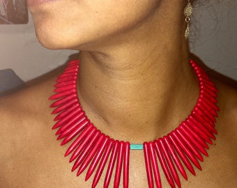 Boho Ethnic Tribal Tropical Handmade Blue and Red Spike Beads Statement Necklace