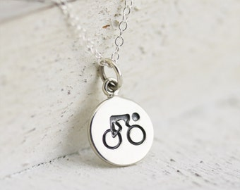 Cyclist Necklace - Sterling Silver Cyclist Necklace - Bicyclist Necklace - Biking Necklace - Bike Charm - Cycling Pendant - Soul Cycle