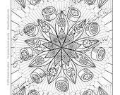 """Candy Kaleidoscope """"Candy Jungle Fruit and Flower Mandala"""" Adult coloring page printable download from Artwork Anywhere ~hand drawn candies~"""