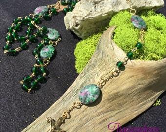 Rosary-Emerald Czech Glass w/Green Agate