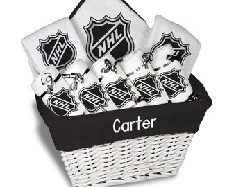 Personalized NHL Shield Baby Gift Basket - 2 Bibs, 5 Burp Cloths, Towel Set - Large
