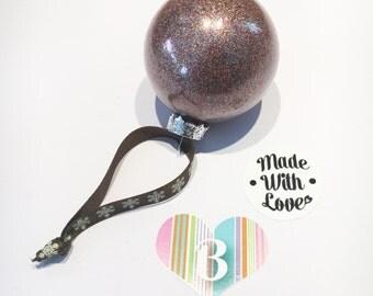 Christmas Glass Bauble, Multicoloured Glitter, Handmade