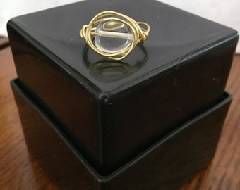 FREE SHIPPING! Clear/Gold Ring Wire Wrapped - Size 6