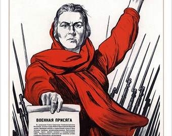 Soviet Propaganda Poster Vintage The Motherland Calls Collectors Rare 24x36