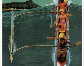 united air lines VINTAGE TRAVEL POSTER hawaii 1950 24X36 riding the wave