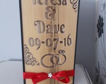 Personalised wedding folded book art  // personalised wedding gift // wedding book fold // origami wedding gift // wedding gift for couple