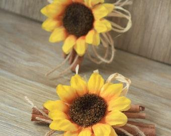 2 Rustic Sunflower Wedding Boutonnieres, Groom Groomsmen Boutonniere, Cinnamon Rustic Sunflower Buttonholes, Groomsmen Sunflower Brooch Set