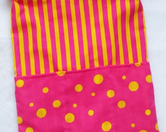 Messenger Tote Bag, Crossbody Bag, Pink/Yellow Spots and Stripes, Adjustable Strap