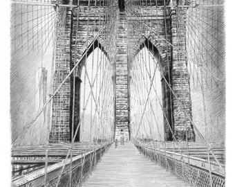 Brooklyn Bridge, New York City Art print of original pencil sketch - Black and White Sketches