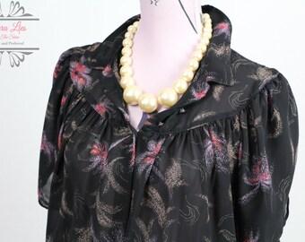 Vintage Sheer Black Fireworks Shirt Dress Size M