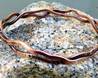 Two Waves Copper Bracelet