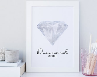 April Birthstone print, Diamond printable art, gemstone print, birthstone art, crystal wall art print, home wall art, geometric print